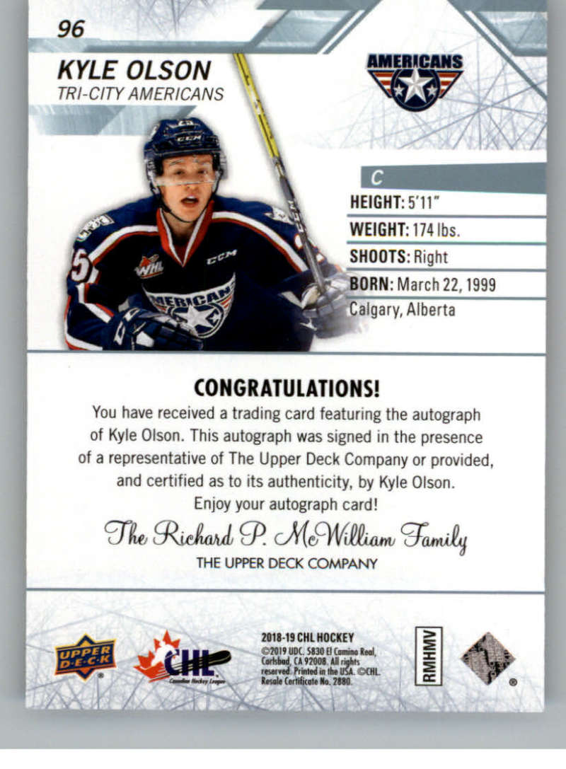 2018-19-Upper-Deck-CHL-Hockey-Autographed-Cards-Pick-From-List miniature 43