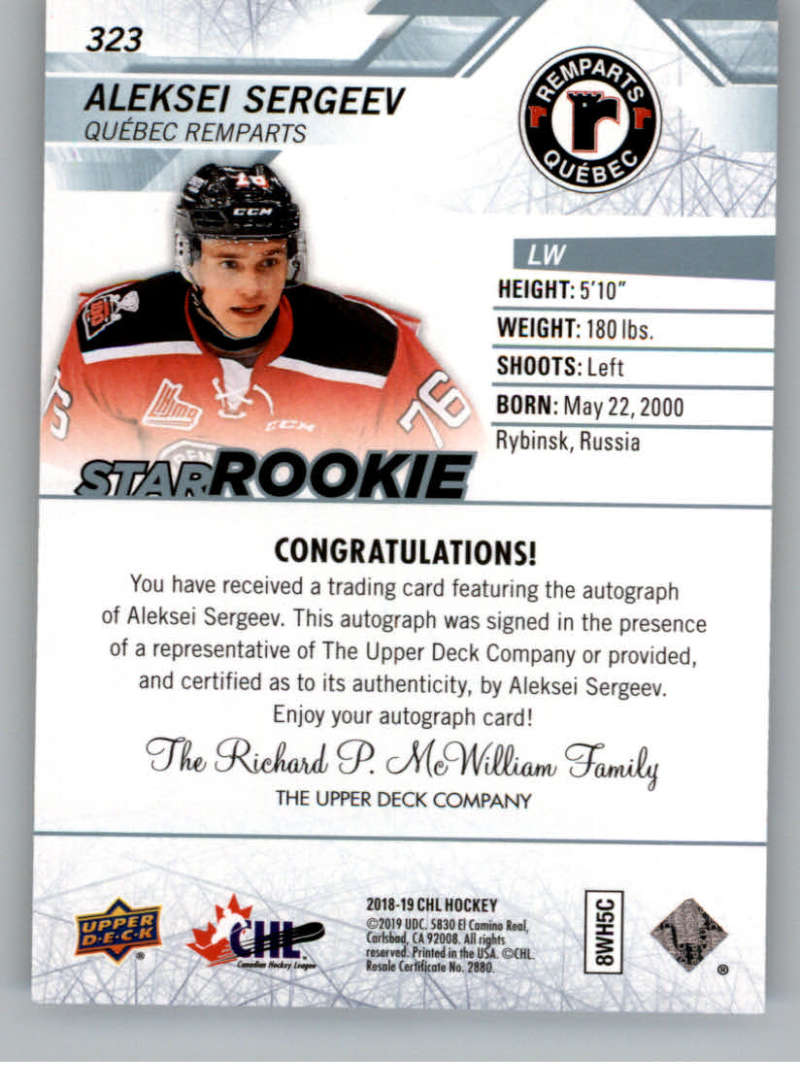 2018-19-Upper-Deck-CHL-Hockey-Autographed-Cards-Pick-From-List miniature 47