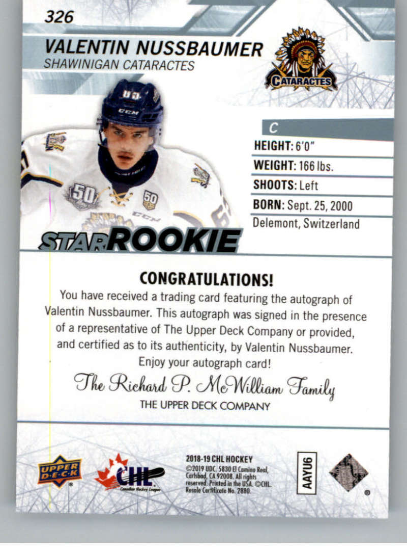 2018-19-Upper-Deck-CHL-Hockey-Autographed-Cards-Pick-From-List miniature 49