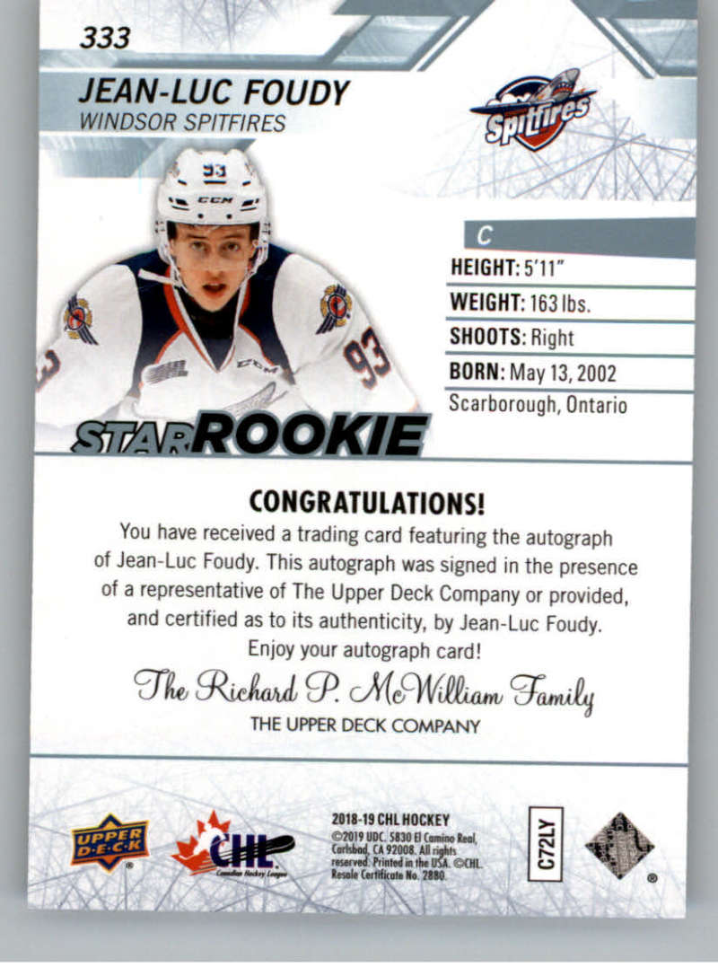 2018-19-Upper-Deck-CHL-Hockey-Autographed-Cards-Pick-From-List miniature 53