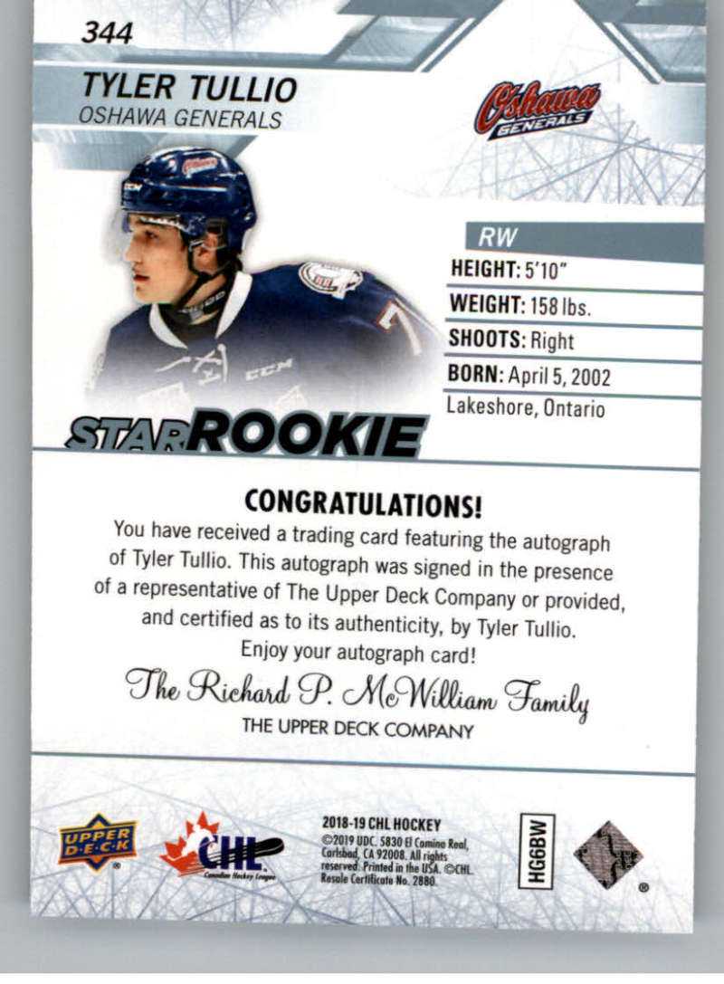 2018-19-Upper-Deck-CHL-Hockey-Autographed-Cards-Pick-From-List miniature 55