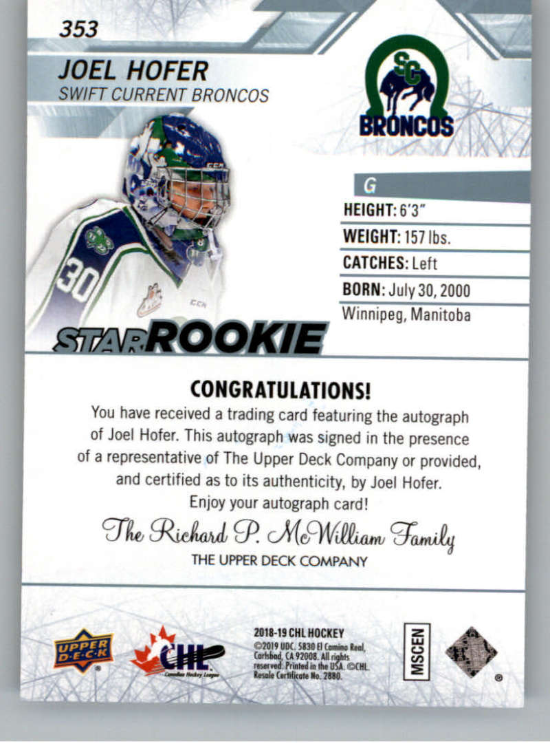 2018-19-Upper-Deck-CHL-Hockey-Autographed-Cards-Pick-From-List miniature 57