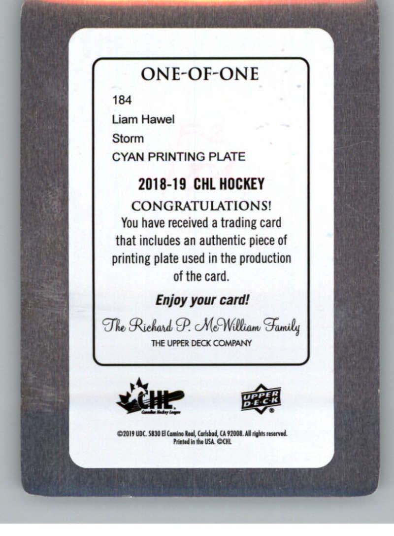 2018-19-Upper-Deck-CHL-Printing-Plate-Hockey-Cards-Pick-From-List miniature 5