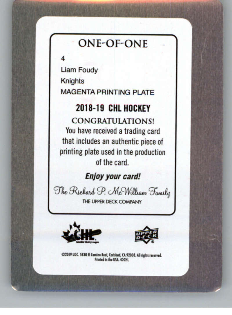 2018-19-Upper-Deck-CHL-Printing-Plate-Hockey-Cards-Pick-From-List miniature 7