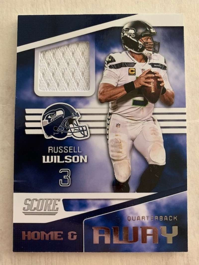 2019 Score Home and Away (Away) Football Jersey #2 Russell Wilson Seattle Seahawks  Official NFL Trading Card From Panini
