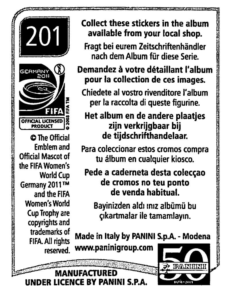 2011-Panini-FIFA-Women-039-s-World-Cup-Album-Stickers-Pick-From-List-201-S9 thumbnail 3