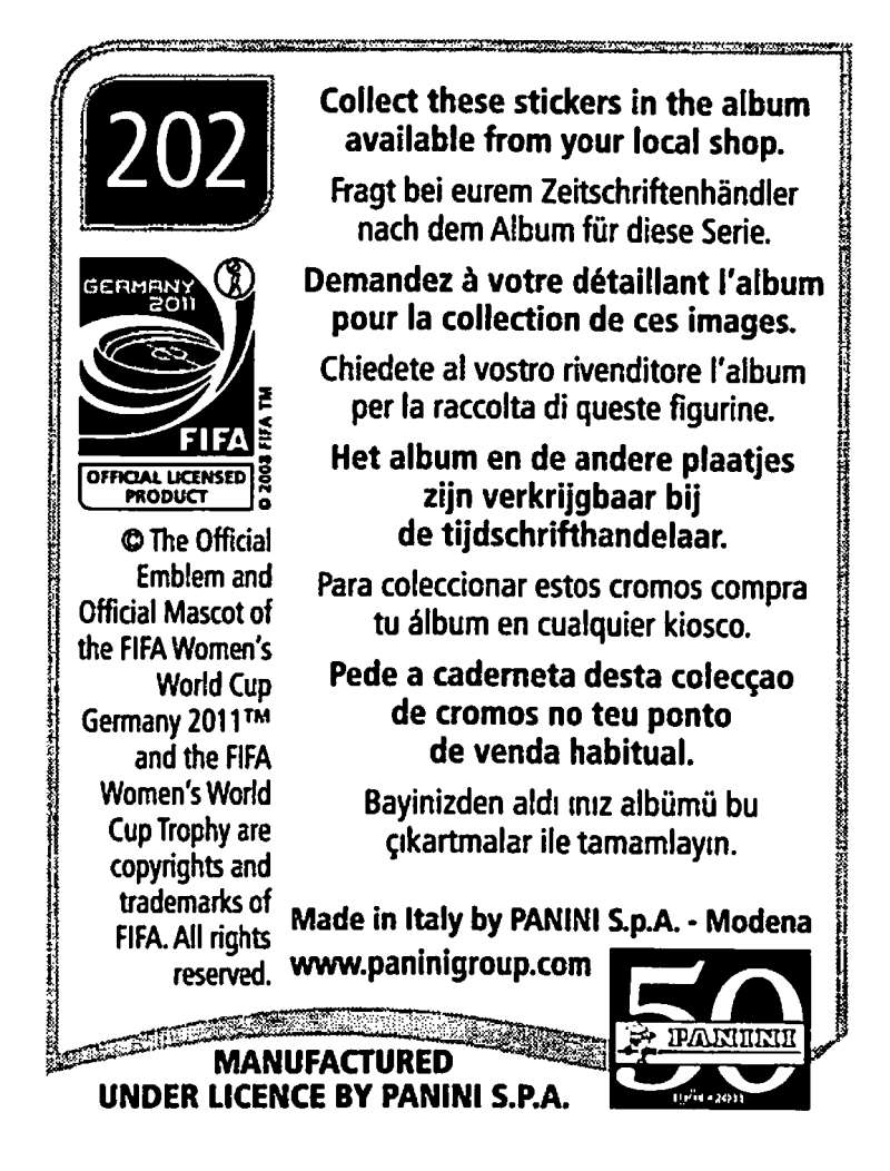 2011-Panini-FIFA-Women-039-s-World-Cup-Album-Stickers-Pick-From-List-201-S9 thumbnail 5