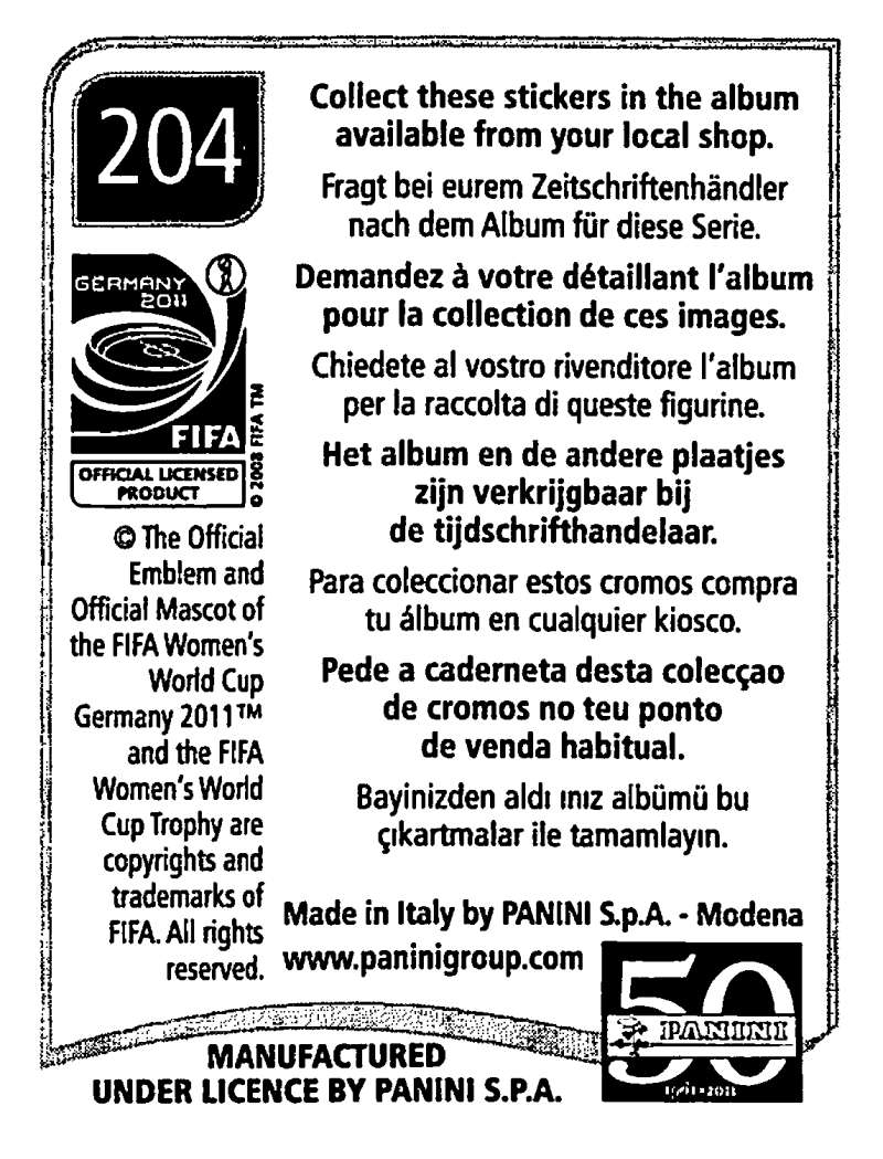 2011-Panini-FIFA-Women-039-s-World-Cup-Album-Stickers-Pick-From-List-201-S9 thumbnail 7