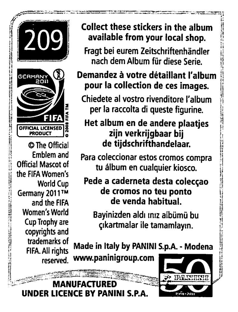 2011-Panini-FIFA-Women-039-s-World-Cup-Album-Stickers-Pick-From-List-201-S9 thumbnail 17