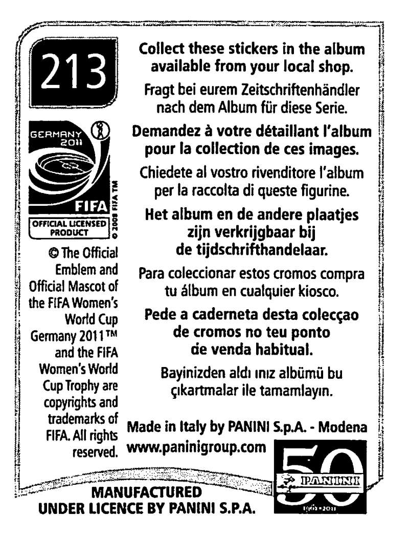 2011-Panini-FIFA-Women-039-s-World-Cup-Album-Stickers-Pick-From-List-201-S9 thumbnail 25