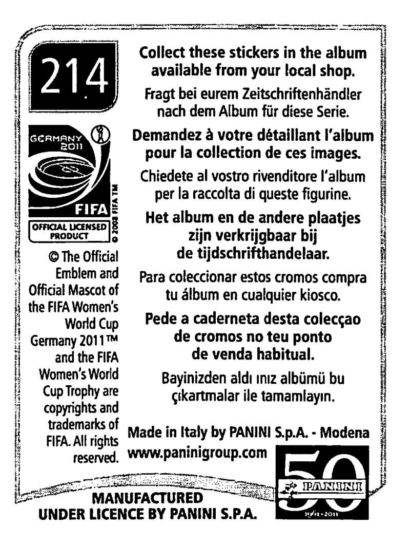 2011-Panini-FIFA-Women-039-s-World-Cup-Album-Stickers-Pick-From-List-201-S9 thumbnail 27