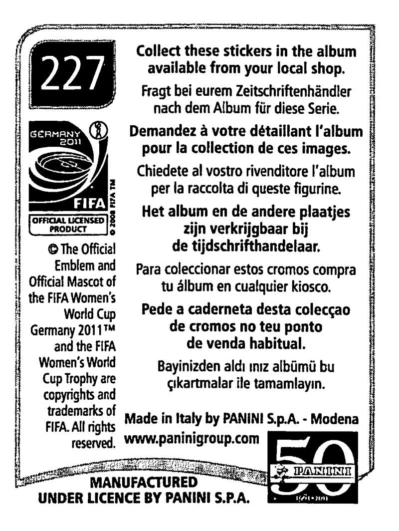 2011-Panini-FIFA-Women-039-s-World-Cup-Album-Stickers-Pick-From-List-201-S9 thumbnail 47