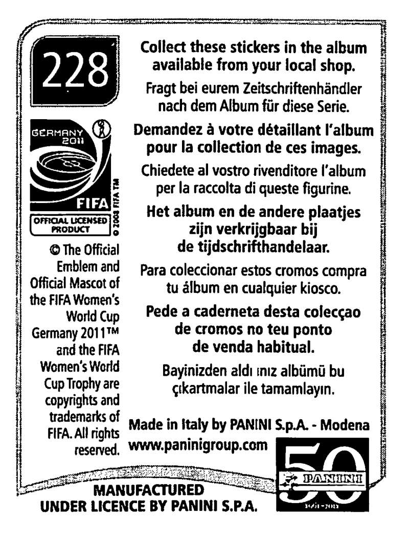 2011-Panini-FIFA-Women-039-s-World-Cup-Album-Stickers-Pick-From-List-201-S9 thumbnail 49