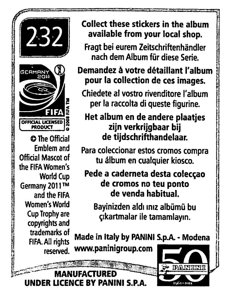 2011-Panini-FIFA-Women-039-s-World-Cup-Album-Stickers-Pick-From-List-201-S9 thumbnail 53