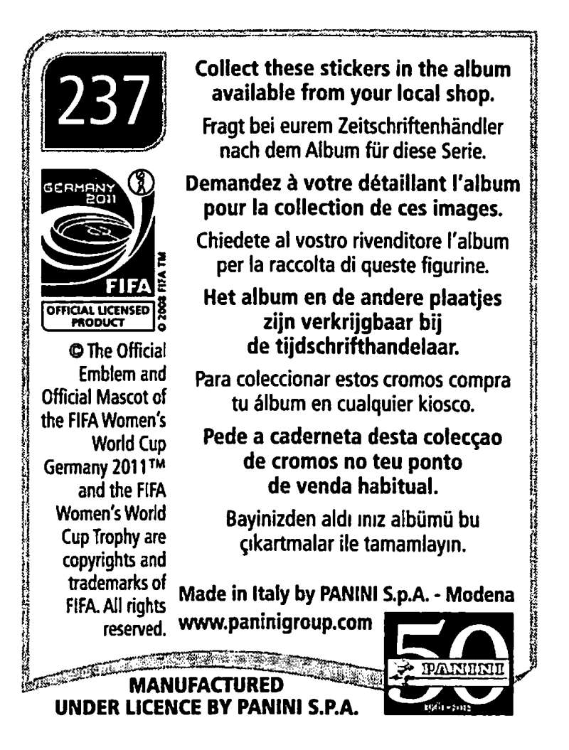 2011-Panini-FIFA-Women-039-s-World-Cup-Album-Stickers-Pick-From-List-201-S9 thumbnail 61