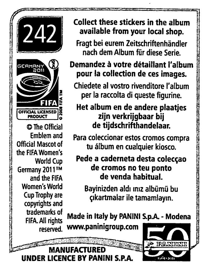 2011-Panini-FIFA-Women-039-s-World-Cup-Album-Stickers-Pick-From-List-201-S9 thumbnail 65
