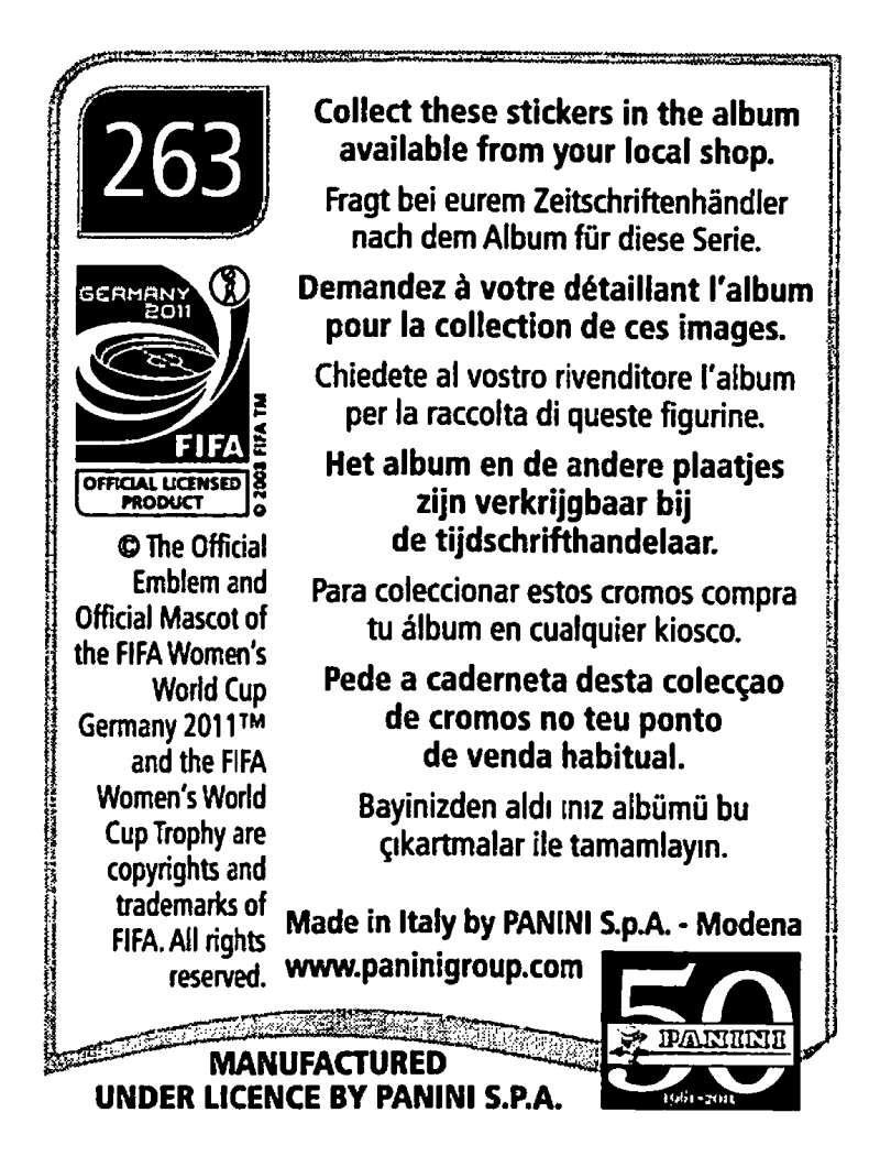 2011-Panini-FIFA-Women-039-s-World-Cup-Album-Stickers-Pick-From-List-201-S9 thumbnail 99