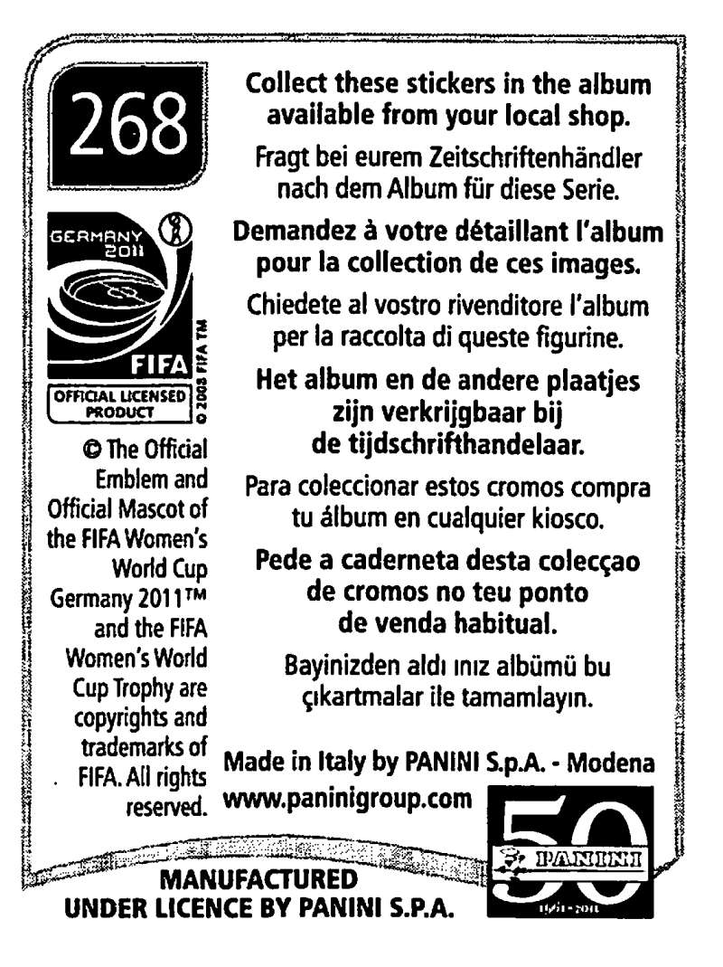 2011-Panini-FIFA-Women-039-s-World-Cup-Album-Stickers-Pick-From-List-201-S9 thumbnail 107