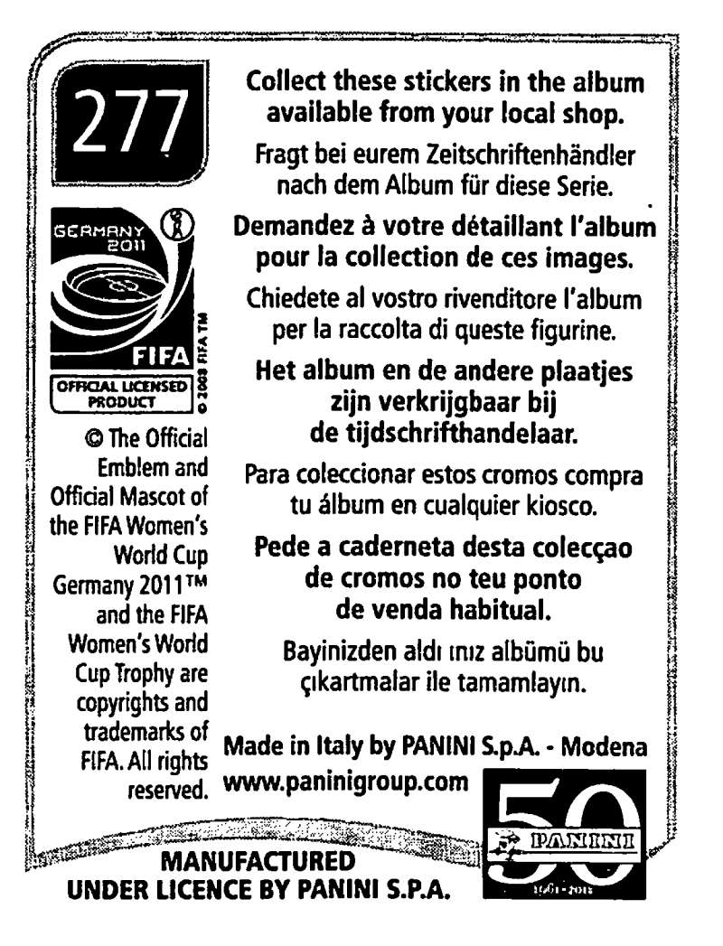 2011-Panini-FIFA-Women-039-s-World-Cup-Album-Stickers-Pick-From-List-201-S9 thumbnail 119