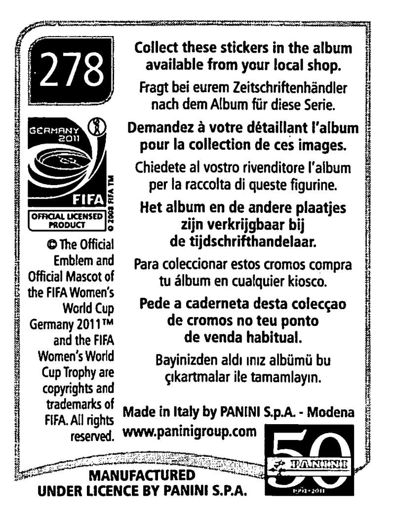 2011-Panini-FIFA-Women-039-s-World-Cup-Album-Stickers-Pick-From-List-201-S9 thumbnail 121