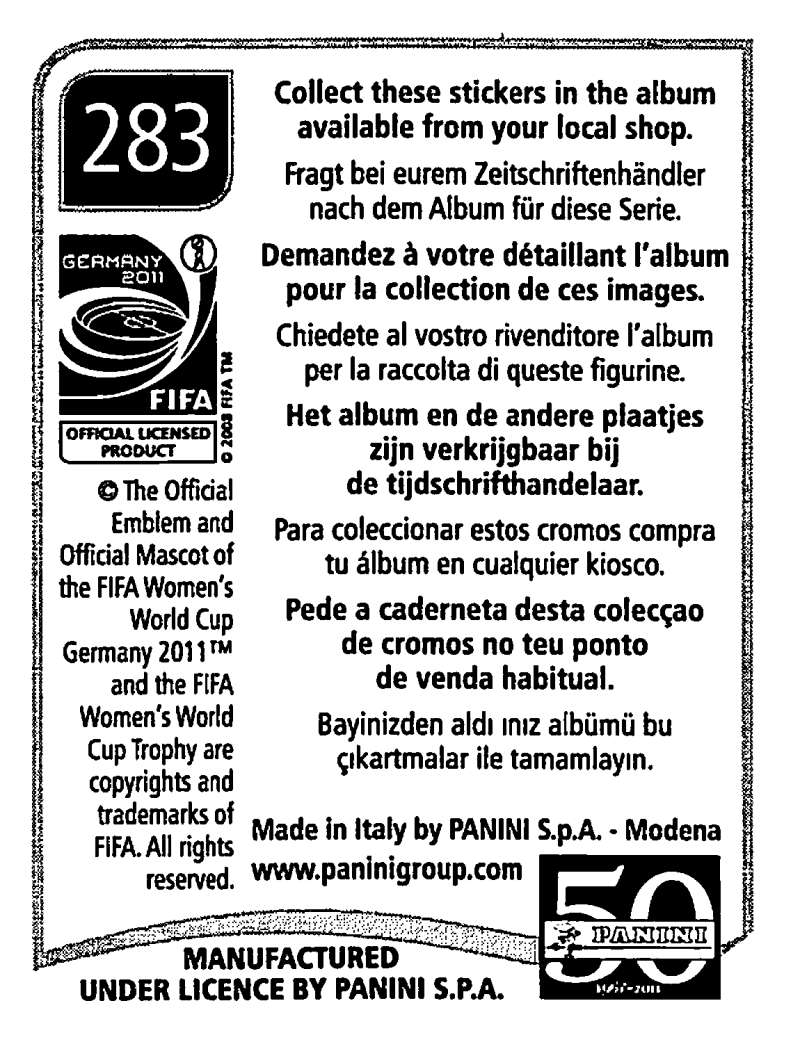 2011-Panini-FIFA-Women-039-s-World-Cup-Album-Stickers-Pick-From-List-201-S9 thumbnail 127