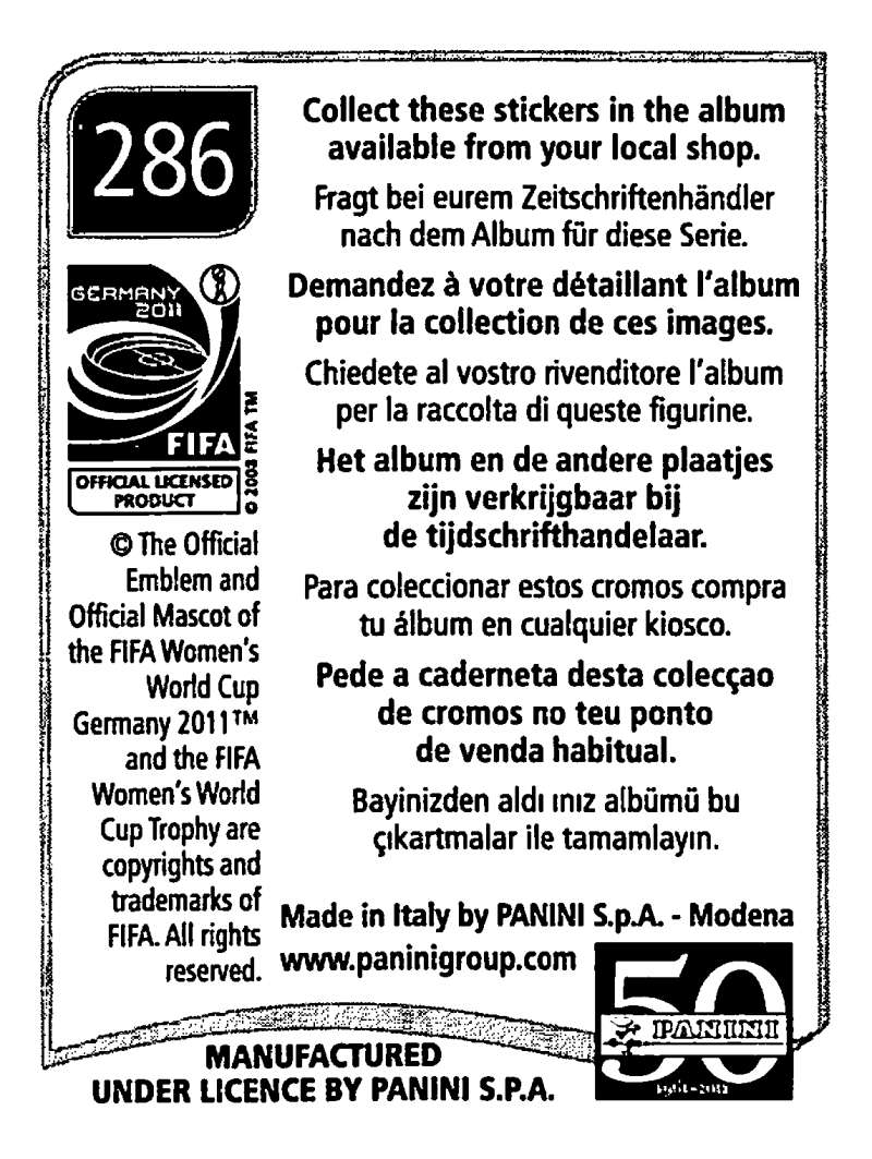 2011-Panini-FIFA-Women-039-s-World-Cup-Album-Stickers-Pick-From-List-201-S9 thumbnail 131