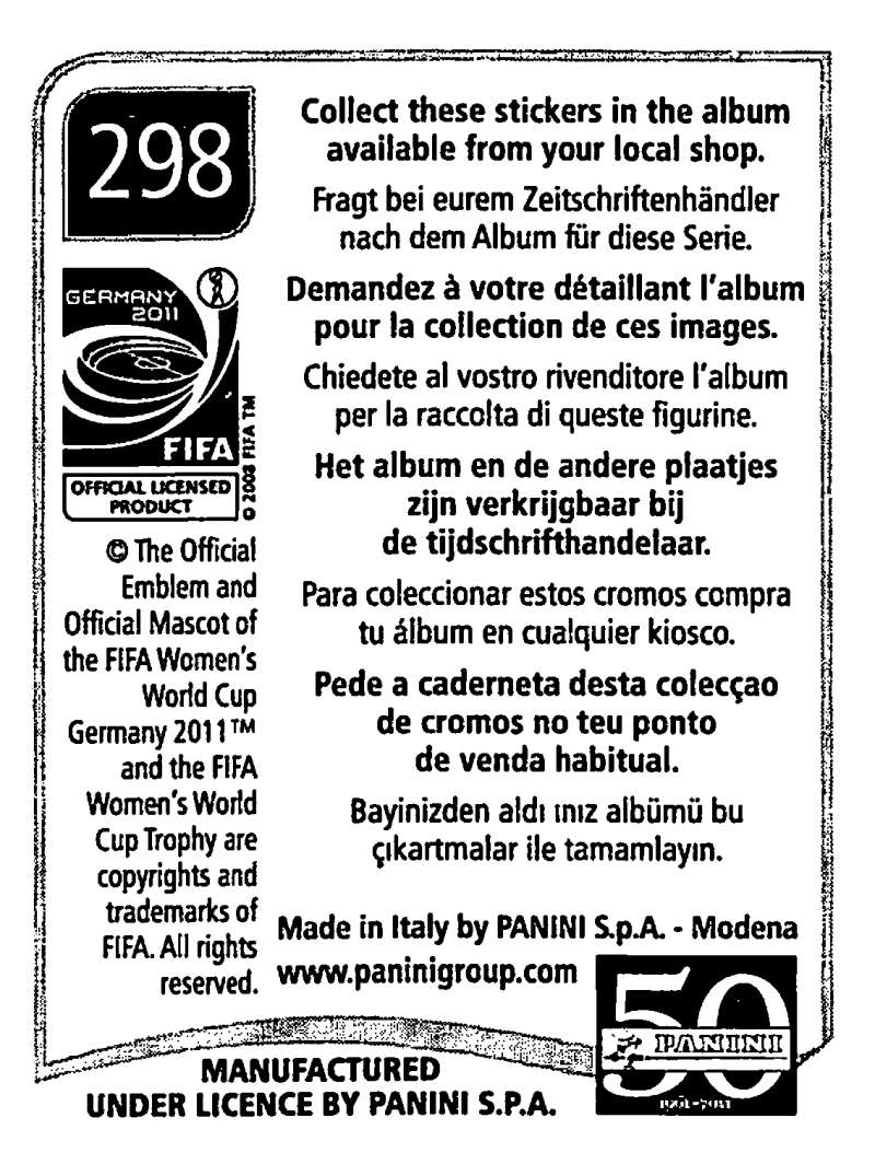 2011-Panini-FIFA-Women-039-s-World-Cup-Album-Stickers-Pick-From-List-201-S9 thumbnail 155