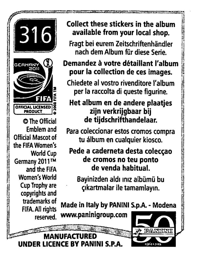 2011-Panini-FIFA-Women-039-s-World-Cup-Album-Stickers-Pick-From-List-201-S9 thumbnail 183