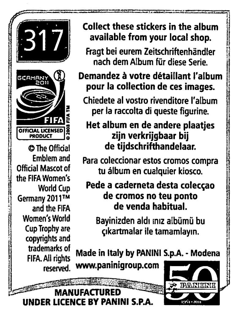 2011-Panini-FIFA-Women-039-s-World-Cup-Album-Stickers-Pick-From-List-201-S9 thumbnail 185