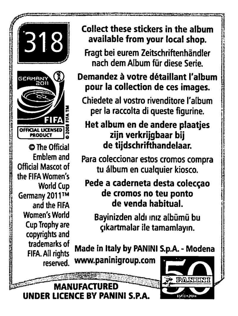 2011-Panini-FIFA-Women-039-s-World-Cup-Album-Stickers-Pick-From-List-201-S9 thumbnail 187