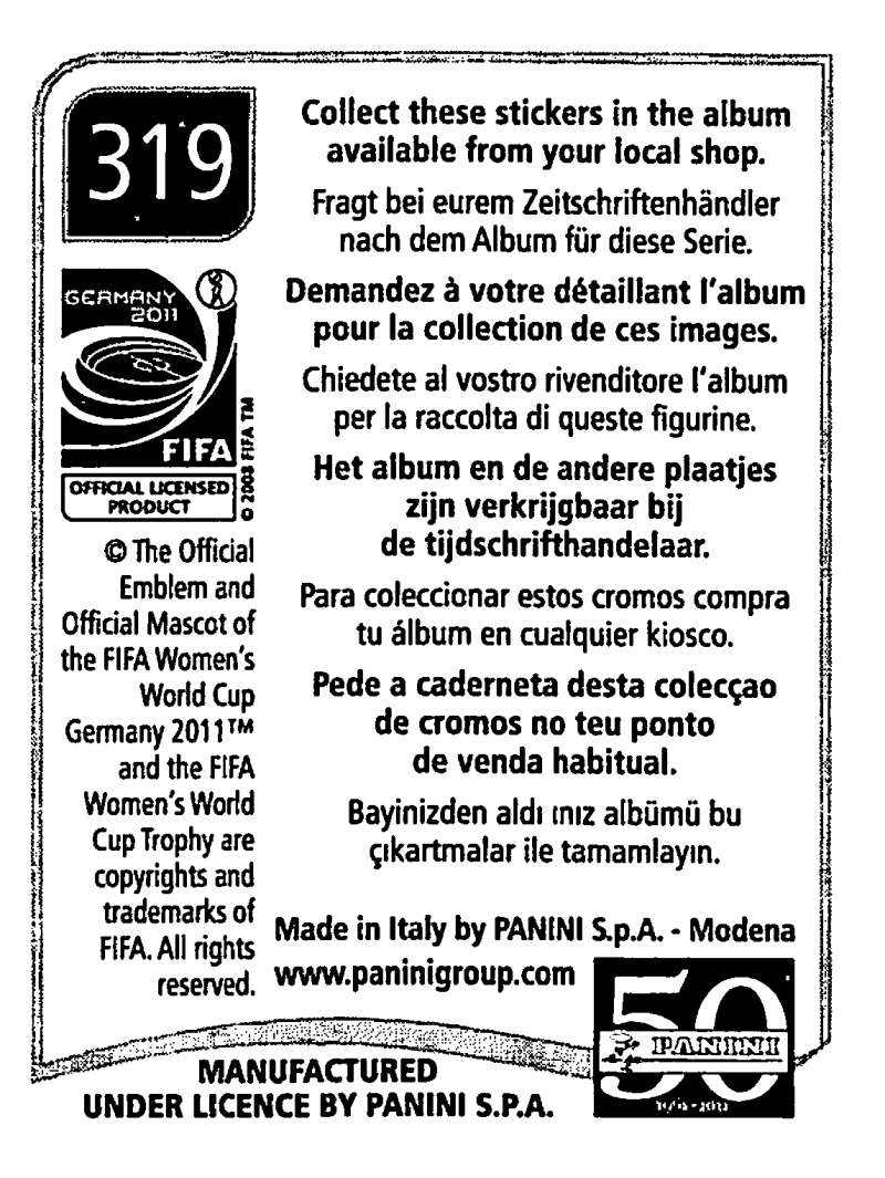 2011-Panini-FIFA-Women-039-s-World-Cup-Album-Stickers-Pick-From-List-201-S9 thumbnail 189