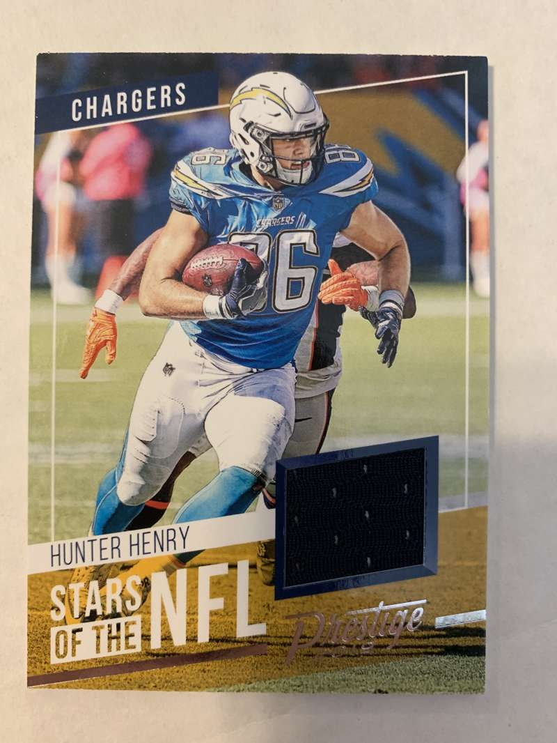 2019 Prestige Stars of the NFL Football #26 Hunter Henry Los Angeles Chargers Official Jersey/Relic Trading Card From Pa