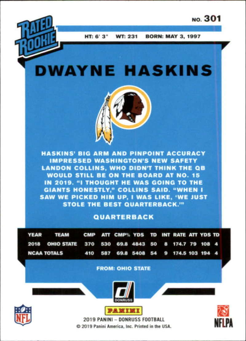 2019-Donruss-Panini-NFL-Football-Cards-Pick-From-List-201-350-With-Rookies thumbnail 201
