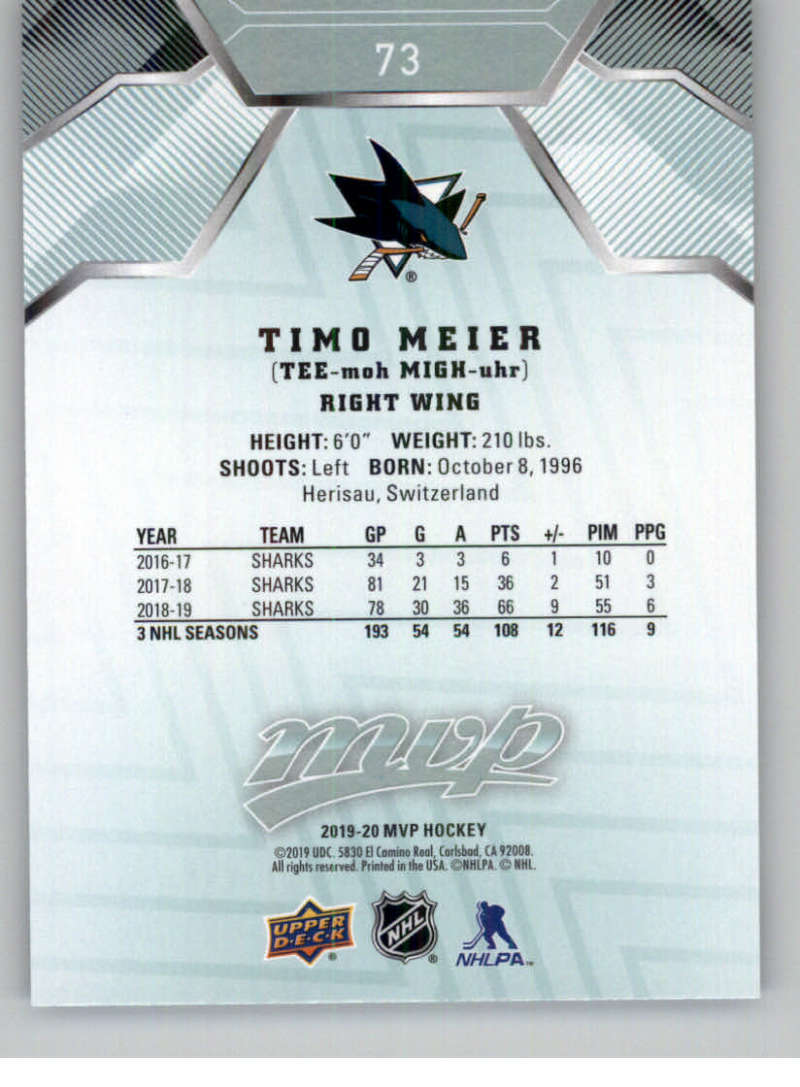 miniature 93 - 2019-20-Upper-Deck-MVP-NHL-Hockey-Cards-Pick-From-List-Base-SP-and-Rookies