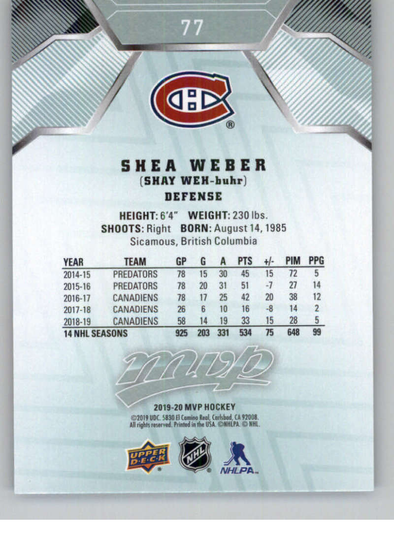 miniature 99 - 2019-20-Upper-Deck-MVP-NHL-Hockey-Cards-Pick-From-List-Base-SP-and-Rookies