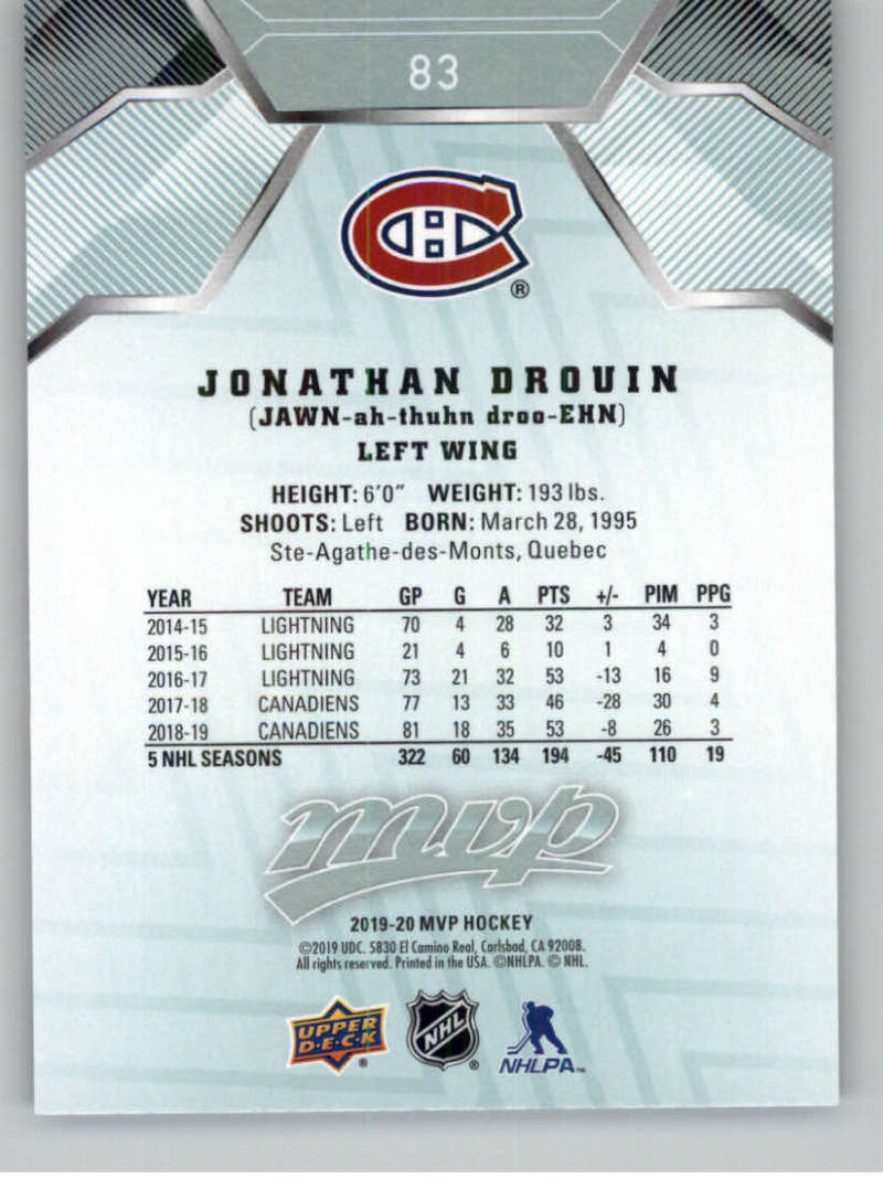 miniature 101 - 2019-20-Upper-Deck-MVP-NHL-Hockey-Cards-Pick-From-List-Base-SP-and-Rookies