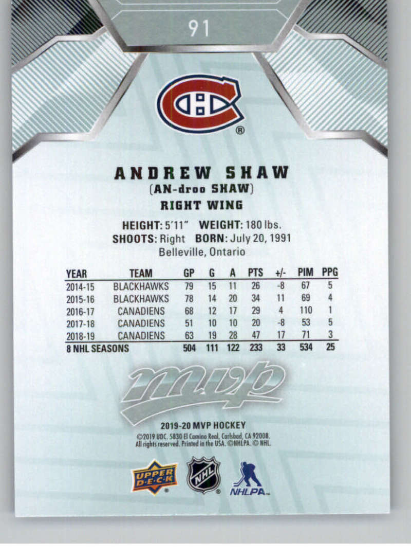 miniature 111 - 2019-20-Upper-Deck-MVP-NHL-Hockey-Cards-Pick-From-List-Base-SP-and-Rookies