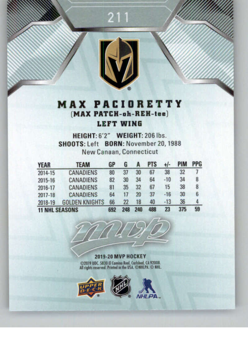 miniature 295 - 2019-20-Upper-Deck-MVP-NHL-Hockey-Cards-Pick-From-List-Base-SP-and-Rookies