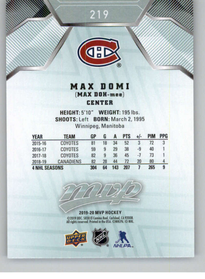miniature 311 - 2019-20-Upper-Deck-MVP-NHL-Hockey-Cards-Pick-From-List-Base-SP-and-Rookies