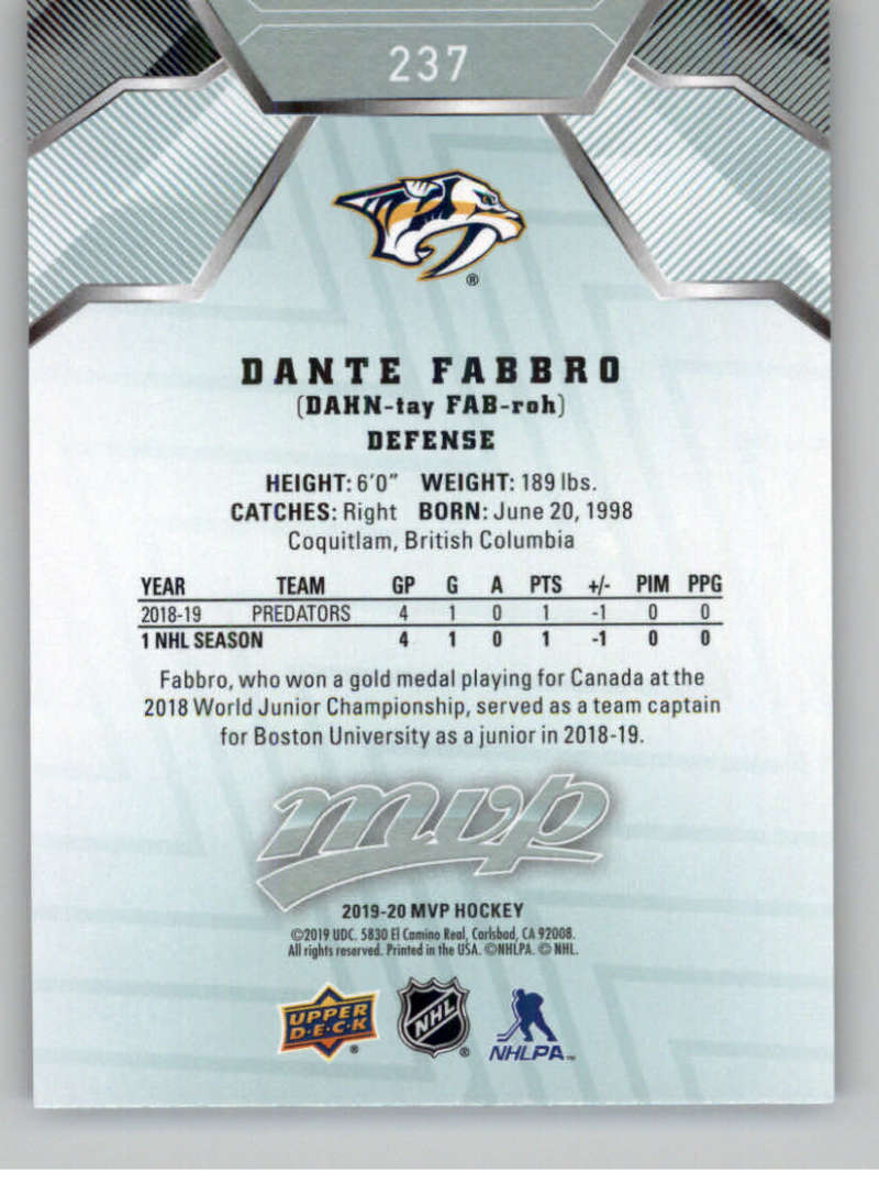 miniature 347 - 2019-20-Upper-Deck-MVP-NHL-Hockey-Cards-Pick-From-List-Base-SP-and-Rookies
