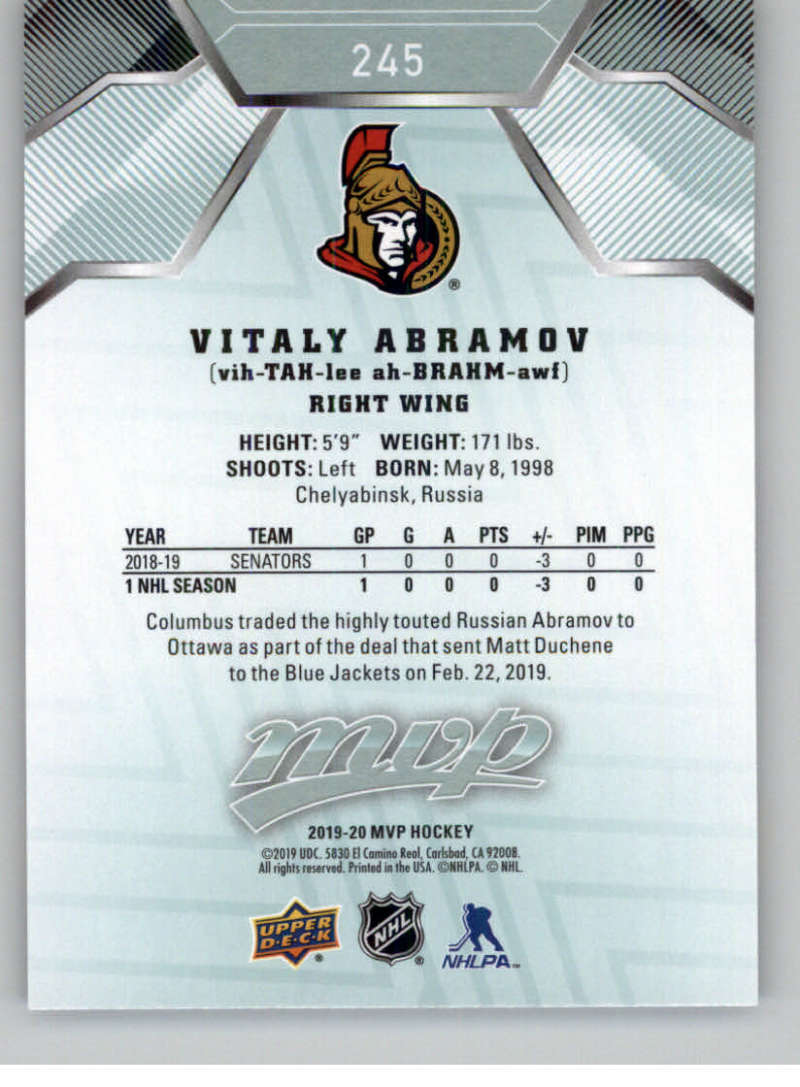miniature 363 - 2019-20-Upper-Deck-MVP-NHL-Hockey-Cards-Pick-From-List-Base-SP-and-Rookies