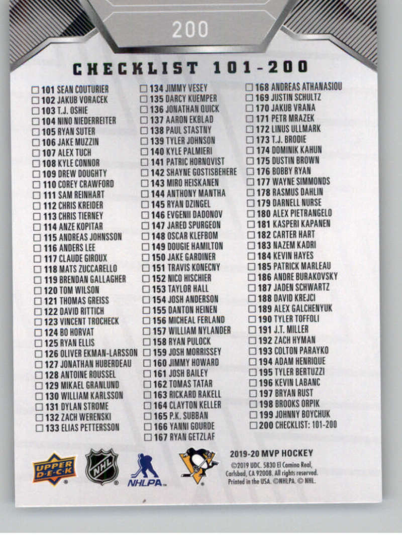 miniature 275 - 2019-20-Upper-Deck-MVP-Silver-Script-NHL-Hockey-Trading-Cards-Pick-From-List