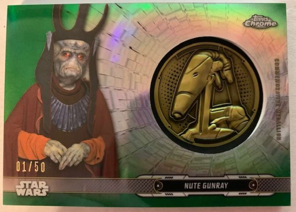2019 Topps Chrome Star Wars Legacy Droid Commemorative Medallion Relics Refractors Green NonSport #NNO Nute Gunray - Bat