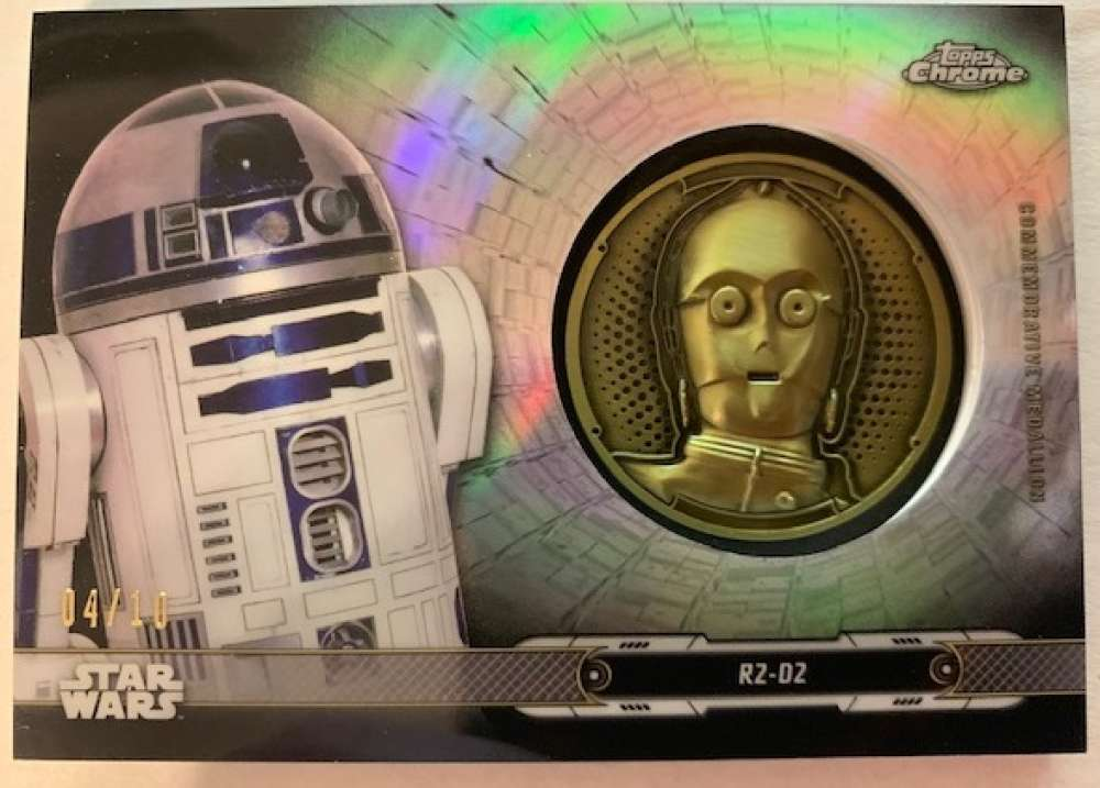 2019 Topps Chrome Star Wars Legacy Droid Commemorative Medallion Relics Refractors Black NonSport #NNO R2-D2 - C-3PO SER