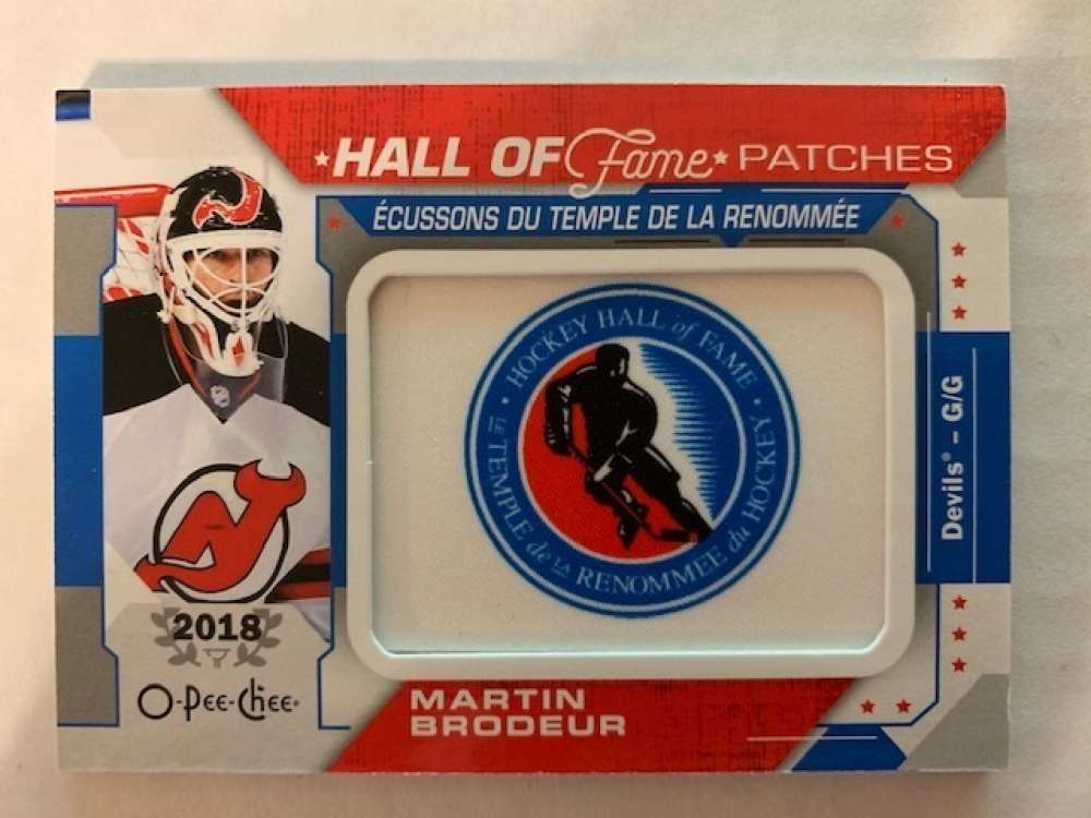 2019-20 O-Pee-Chee Hall of Fame Manufactured Patches Hockey #HOF-9 Martin Brodeur SP Short Print New Jersey Devils Offic