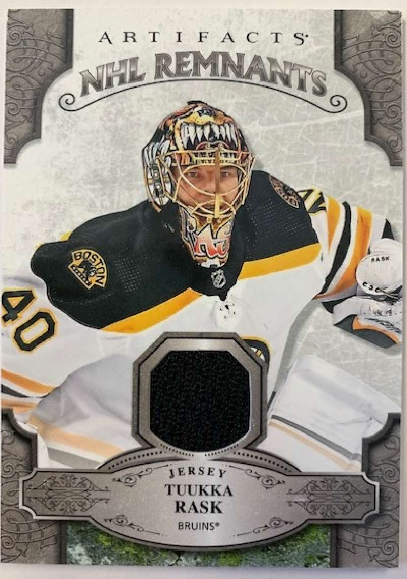 2019-20 Artifacts NHL Remnants Hockey #NR-TR Tuukka Rask Jersey/Relic Boston Bruins Official NHL Trading Card From Upper