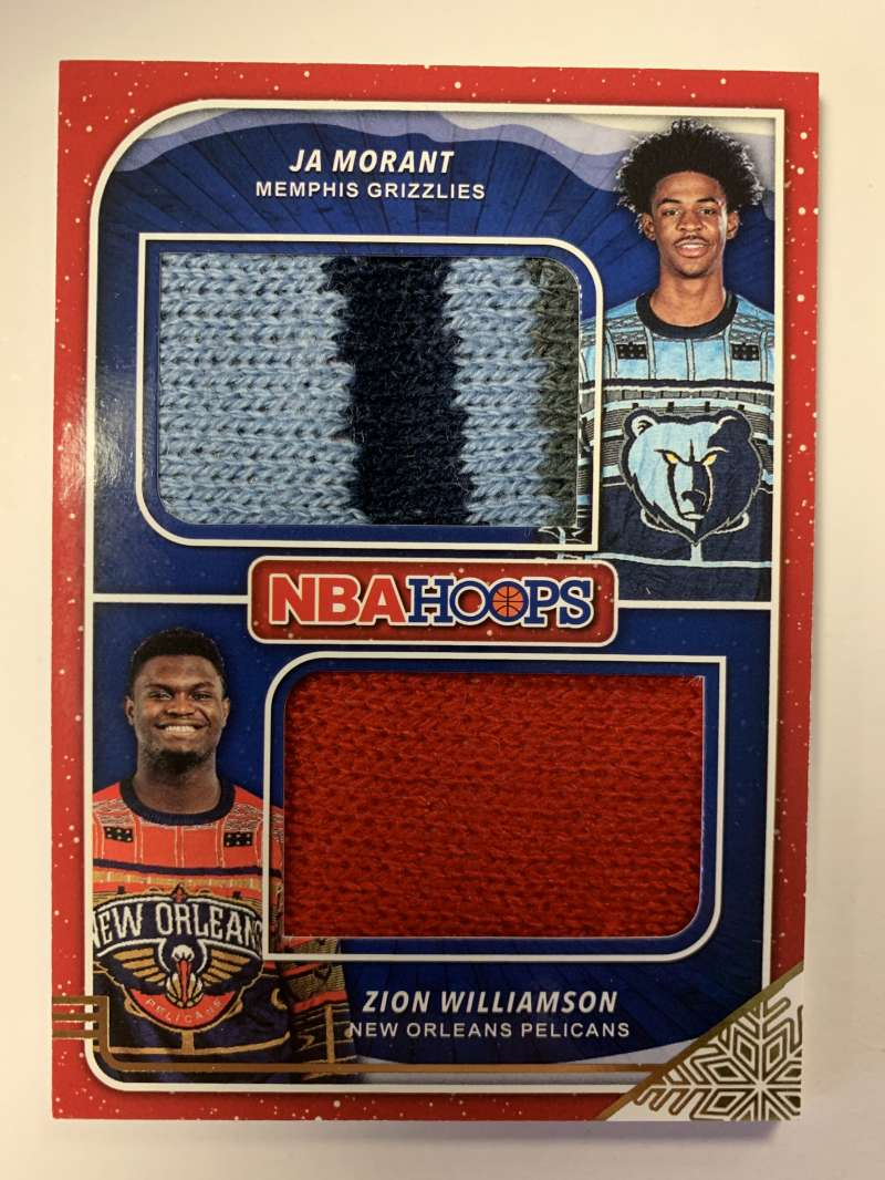 2019-20 Panini Hoops Winter Rookie Sweaters Dual Memorabilia Basketball #2 Ja Morant/Zion Williamson Memphis Grizzlies/N