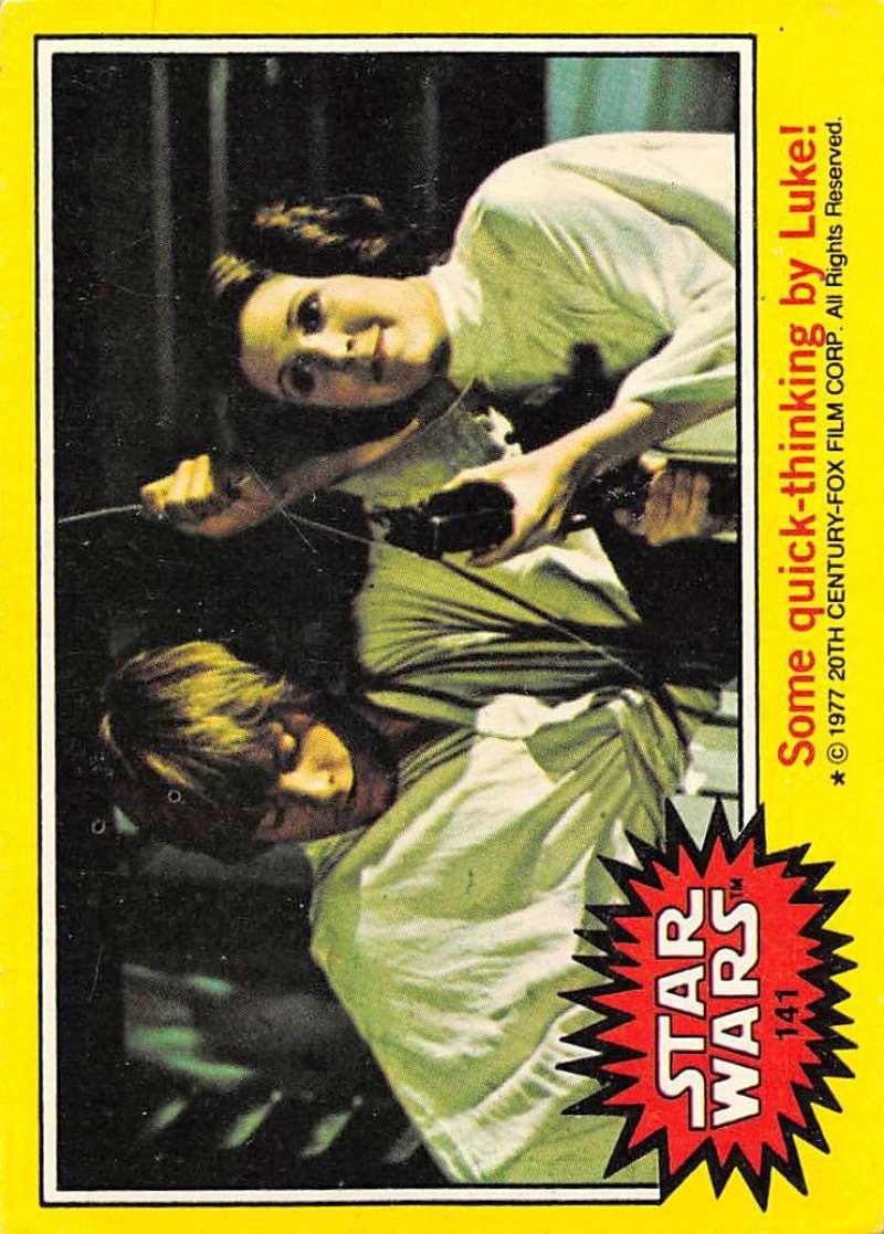 1977 Topps Star Wars Set Break #1 Non Sport #141 Some quick-thinking by Luke! Series Three Yellow