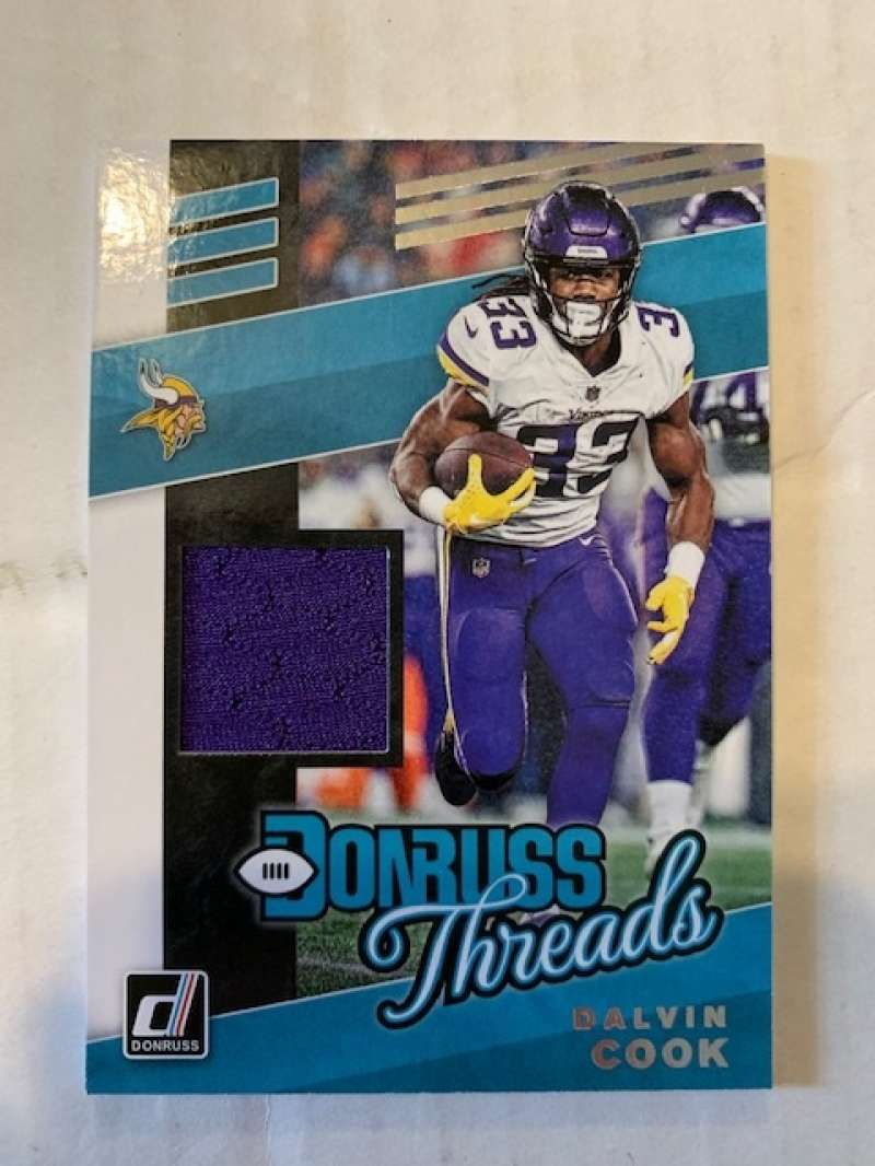 2019 Donruss Donruss Threads Football #10 Dalvin Cook Jersey/Relic Minnesota Vikings Official NFL Memorabilia Trading Ca
