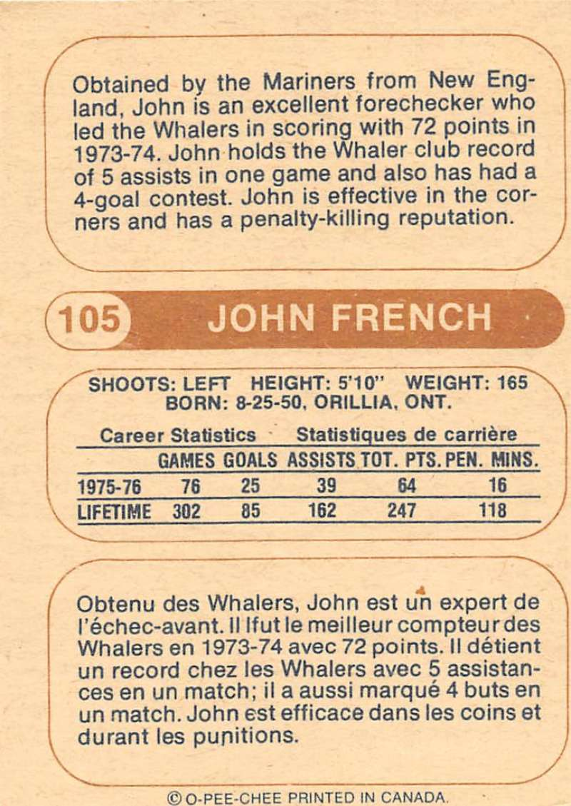 1976-77-O-Pee-Chee-OPC-WHA-Hockey-Trading-Cards-Pick-From-List-Set-Break-One miniature 107